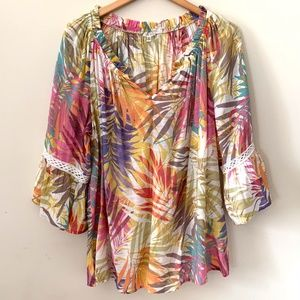 Spense Tropical Print Blouse Flare Sleeves XL